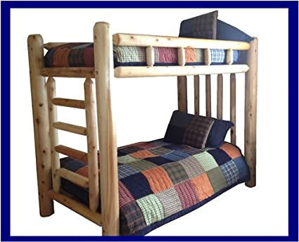Amazon Com Original Queen Rustic Cedar Log Bunk Bed Kitchen Dining