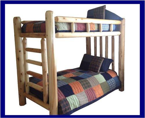 Bedroom Cedar Bunk Bed - #1 Selling Original Twin Rustic Cedar Log Bunk Bed