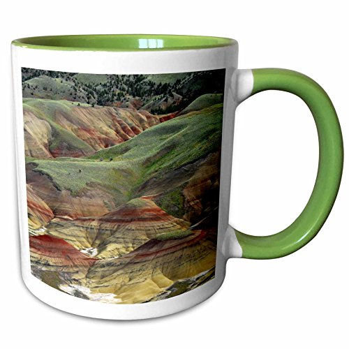 3dRose Danita Delimont - Michel Hersen - Hills - Painted Hills, John Day Fossil Beds, Mitchell, Oregon, USA - 15oz Two-Tone Green Mug (mug_191623_12)
