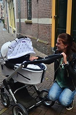 Parasol de algodón 100%. Universal. Para carrito y cochecito, fácil de montar con anillas, transpirable, protege siempre del sol SPF 40 + y repara del ...
