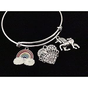 Rainbow Unicorn Soul Sister Expandable Charm Bracelet Silver Adjustable Bangle Trendy Best Friend Gift BFF