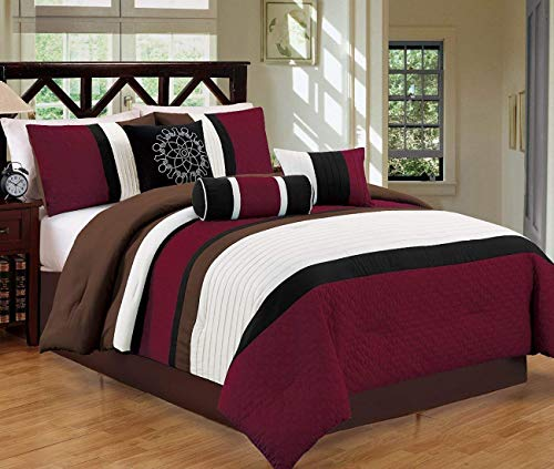 (JBFF Modern 7 Piece Oversize Stripe Comforter Set Bedding with Accent Pillows (Burgundy, Cal King))