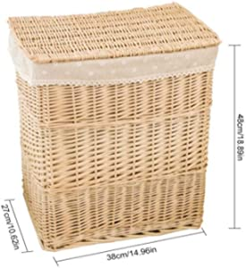 TSY Wicker Laundry Hamper Woven Willow Baskets with Liner, Rectangular Hampers and Storage Bins with Lids (C)