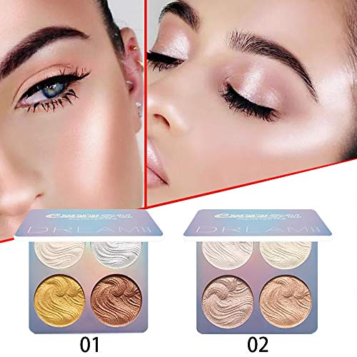 Ownest 2 Pcs Highlighter Makeup Palette Set, Gorgeous Luster Super Silky Texture, Long Lasting Waterproof Glow Bronzer Highlighter Powder Kit-8 Colors