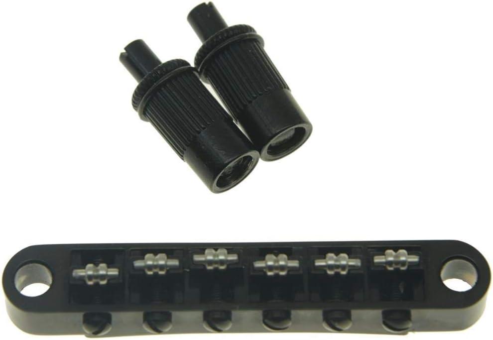 KAISH Black Guitar Roller Saddle Bridge Tune-O-Matic Bridge For Epiphone Les Paul,SG,Dot,Bigsby Guitar with M8 Threaded Posts