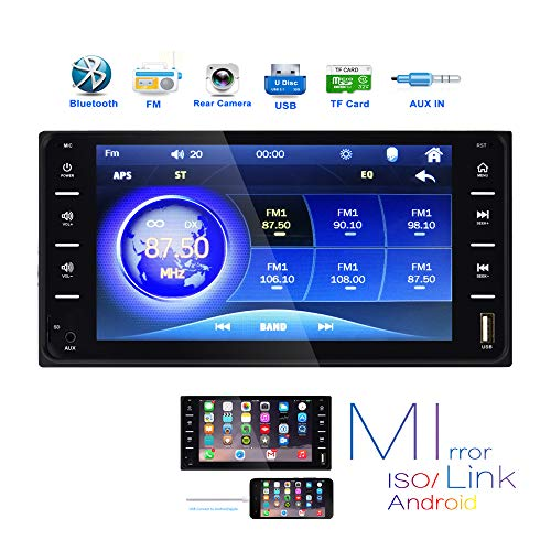 Double Din Car Stereo Audio for Universal Toyota Corolla 7 Inch Touch Screen Radio Bluetooth FM Radio Tuning with USB AUX-in SD Card Port Support Smart Phone Mirror Link & SWC Remote & Backup Camera V