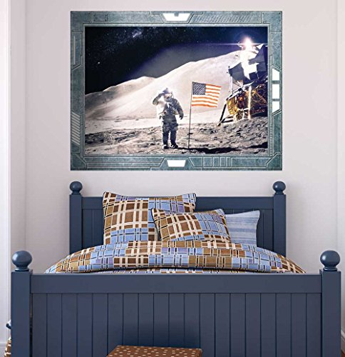 Science Fiction ViewPort Decal Landing on the Moon US Astronaut American Flag Wall Mural