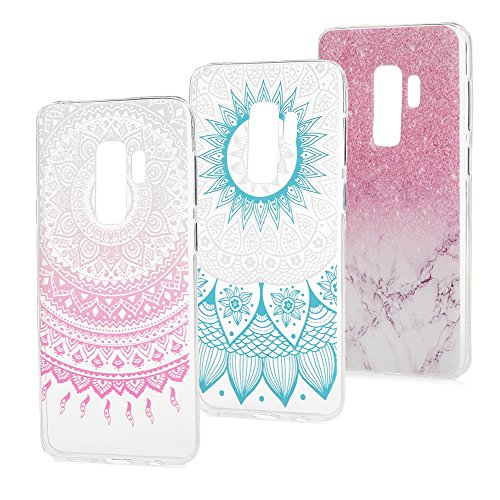 For Galaxy S9 Plus Case, Samsung Galaxy S9 Plus Case, 3 Pack Slim Thin Lightweight Cover Transparent Clear Bumper Protective Samsung S9 Plus Case Shell - Pink Marble Blue Mandala Totem Flowers -