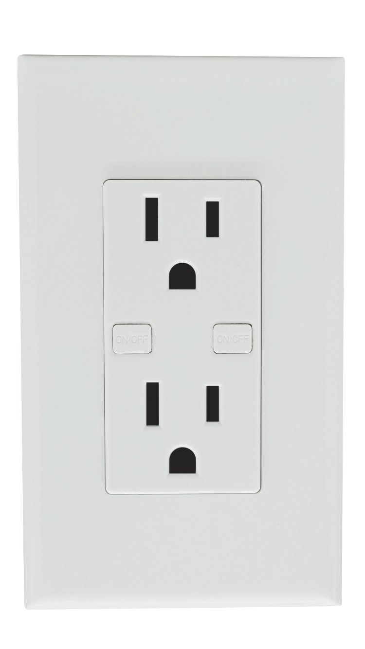 Smart Wi-Fi Wall Outlet, Works With Alexa Google Home IFTTT, iOS Android Smartphone Wireless, No Hub Required, Timer Function, Independent Socket Control, 15A