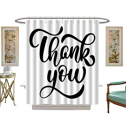 Tree Four Seasons Shower Curtaintext Thank you hand written calligraphy lettering handmade vector illustration Fun brush ink typography for photo overlays t-shirt print flyer poster design. Bathroom