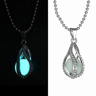 5f3efd09d1549e Amazon.com: Gbell Luminous Fine Blue Stone Pendant Necklace Women Girls  Neck Chain Glow in Dark Pendant Necklace Charm Statment Party, Anniversary,  ...