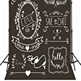 Simple White and Black Chalkboard Wedding Photography Background Backdrop 10x10ft Custom Made with Personal Information