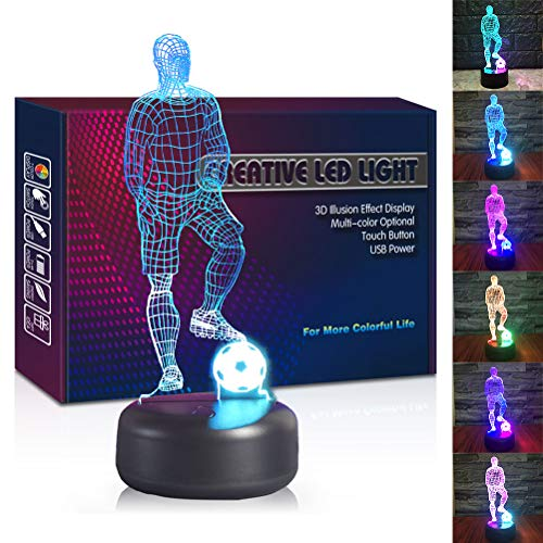 Soccer Player LED 3D Illusion USB Lamp, Mixed Color Optical Night Light Christmas Present Birthday Gift for Boy Boyfriend Husband Sports Lover Men Kid Nursery Bedroom Room Decor (Soccer Player)