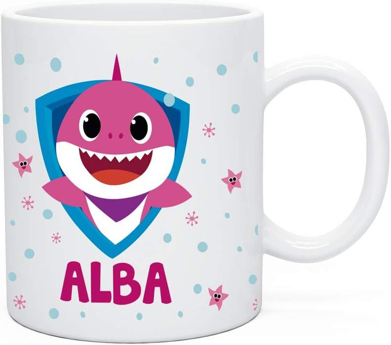Regalo Original Taza de plástico Infantil Personalizada con Nombre y Baby Shark para la Vuelta al Cole 33 Cl (Fucsia)