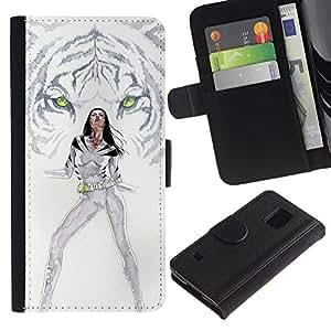Protector de cuero de la PU de la cubierta del estilo de la carpeta del tirón BY RAYDREAMMM - Samsung Galaxy S5 V SM-G900 - Tigre blanco Princesa