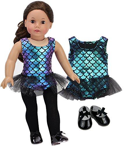 (Sophia's 18 Inch Doll Jazz Set Tap Dancer Outfit Iridescent Jazz Leotard w/ Tutu Trim and Black Tap Shoes)
