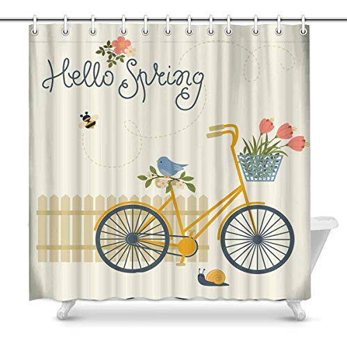 (PAUSEBOLL Spring Bicycle Flowers Bird Snail and Fence Hello Spring Shower Curtain Bathroom with Hooks,Waterproof Polyester Curtain)