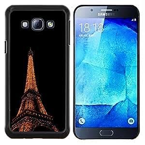 KLONGSHOP // Cubierta de piel con cierre a presión Shell trasero duro de goma Protección Caso - Torre Eiffel en París - Samsung Galaxy A8 A8000 //