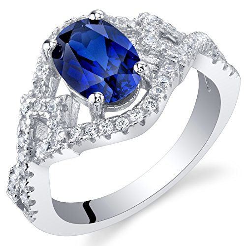 8x6mm Oval Ceylon Sapphire - Created Blue Sapphire Sterling Silver Lace Ring Size 9