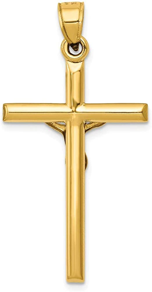 FB Jewels Solid 14K Yellow Gold Hollow Crucifix Pendant