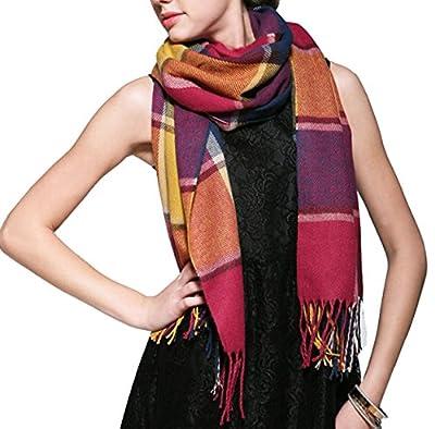 Wander Agio Women's Fashion Long Shawl Big Grid Winter Scarf
