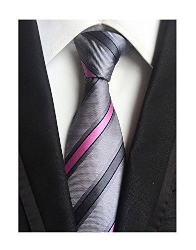 (Men Striped Pink and Grey Silk Ties Woven Neckties Creative Design Gift for Him)