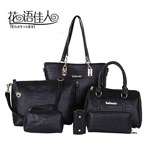 La nueva tendencia de paquete compuesto hembra Bolsa Bolsa de madre coreana todos-match de seis piezas de mano hombro bolsa femenina,gules black
