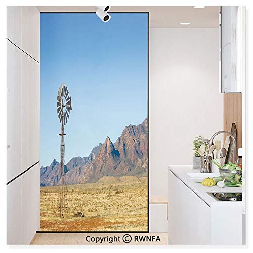RWN Film Window Films Privacy Glass Sticker Flinders Ranges South Australia Mountains Barren Land Summer Static Decorative Heat Control Anti UV 30In by 59.8In,Earth Yellow Light Blue