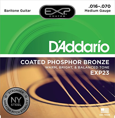 DAddario EXP23 Coated Phosphor Bronze Acoustic Guitar Strings, Light, 16-70 - Offers a Warm, Bright and Well-Balanced Acoustic Tone and 4x Longer Life - With NY Steel for Strength and Pitch Stability