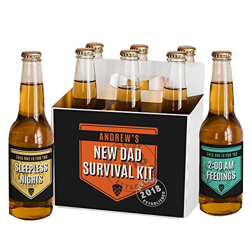 GiftsForYouNow New Dad Survival Kit Personalized Beer Labels and Carrier Set by GiftsForYouNow