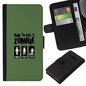 YiPhone /// Tirón de la caja Cartera de cuero con ranuras para tarjetas - Zombie Killing Guía divertido - Samsung Galaxy Core Prime