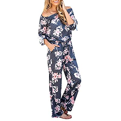 Cheap YONYWA Off Shoulder Half Sleeve Floral Print Long Romper Boho Wide Leg Drawstring Jumpsuit with Pockets