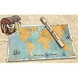 Scratchy Planet, scratch card avec look vintage, Carte du monde à gratter, planisphère à enrouler, carte internationale scratch XL, noms authentiques des pays et villes