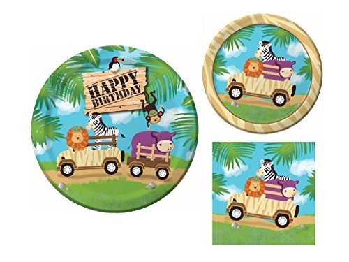Safari Adventure 16 Guest Jungle Animal Birthday Party Supply Bundle (3 Items) - Dinner Plates, Dessert Plates & Napkins