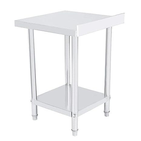 Mesa de trabajo de acero inoxidable de doble capa, mesa de ...