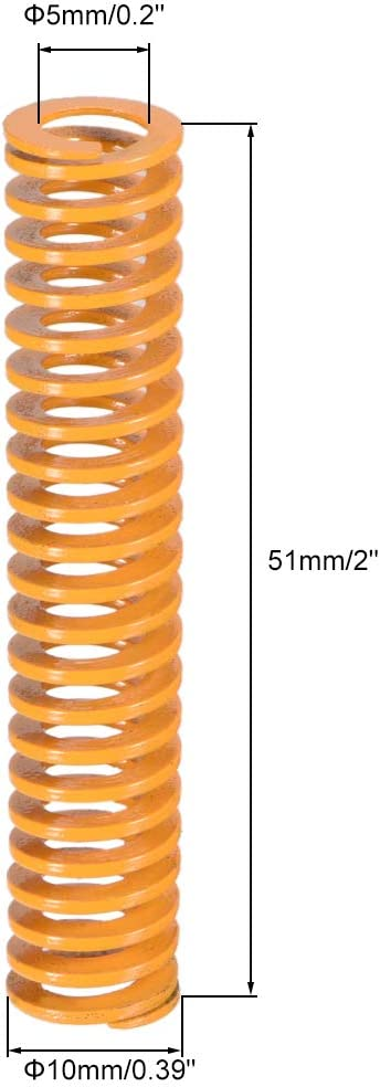 uxcell 10mm OD 51mm Long Spiral Stamping Light Load Compression Mould Die Spring Yellow 2Pcs