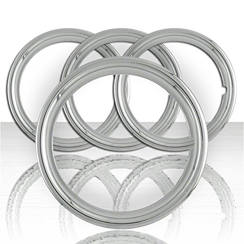 Upgrade Your Auto Set of Four 14' SS 1 1/2' Deep Wheel Trim Rings (Stainless Steel Retention) by Upgrade Your Auto