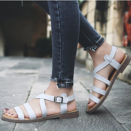 Sandals ZCJB Europe And America Flat Woman Summer Rome Women's Shoes Leather Casual And Slippers (Color : Pink, Size : 36) White