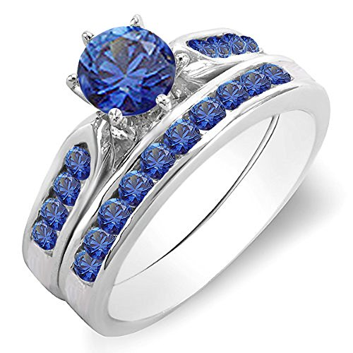100-Carat-ctw-14K-Gold-Round-Blue-Sapphire-Ladies-Bridal-Engagement-Ring-Set-With-Matching-Band-1-CT