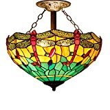 16C Tiffany Ceiling Light Fixture Semi Flush Ceiling Lamp 16 Inch Stained Glass Shade for Dinner Room Pendant 2 Light (S009G Series)
