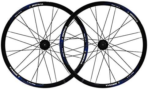 "GXFWJD ホイール26"" 自転車ホイールセット MTB ダブルウォールアロイリム ディスクブレーキ 7-11速度 タイヤ 1.5-2.1"" シールドベアリングハブ クイックリリース 28H 6色"