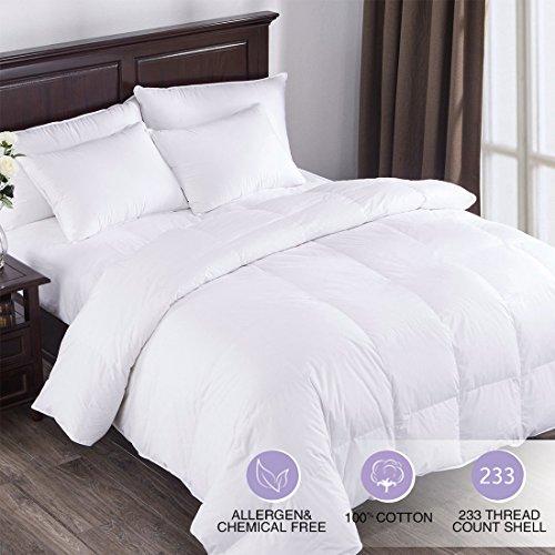 Puredown All Seasons White Down Comforter Cotton 600 Fill Power, Full/Queen Size, White
