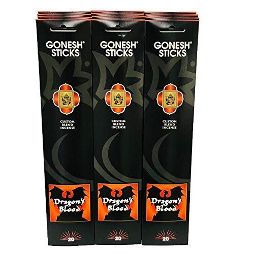 (GONESH Incense Sticks Dragon Blood Charcoal Lot of 12)