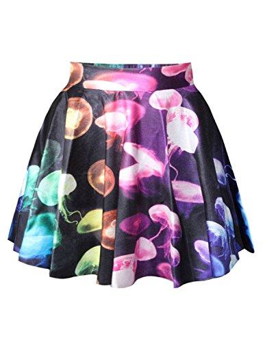 Jellyfish Mini - Womens Jellyfish Digital Print Stretchy Flared Pleated Casual Mini Skirt One Size Jellyfish