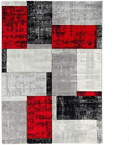 Carreaux Rouge Anthracite Tapis Designer Modern Pergamon Maui 5 Tailles