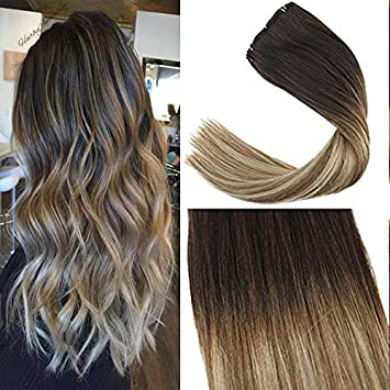 Sunny 14inch 9pcs 140g Ombre Balayage Clip In Remy Hair Extensions Dark Brown To Medium Brown