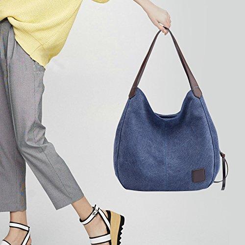 Handbags Blue Fanspack Bag Navy Tote Hobo Canvas Top Shoulder Bag Casual Handle for Women Hobo Vintage ZFFUnr