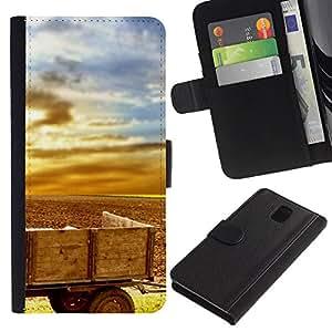 KingStore / Leather Etui en cuir / Samsung Galaxy Note 3 III / Planta Naturaleza Forrest Flor 33