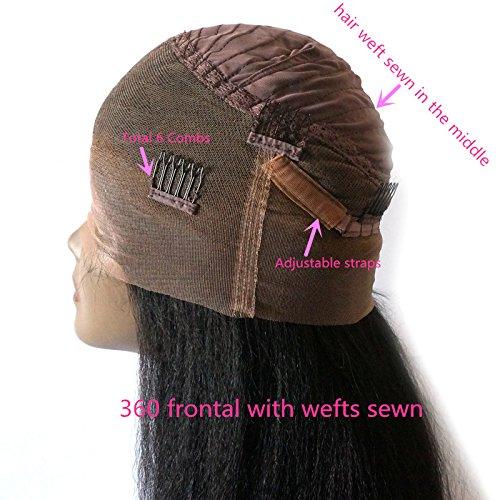 Enoya Hair Best Italian Yaki 360 Lace Frontal Wig Pre Plucked Brazilian Remy Lace Human Hair Wigs for Black Women 180 Density (20'') by Enoya (Image #5)
