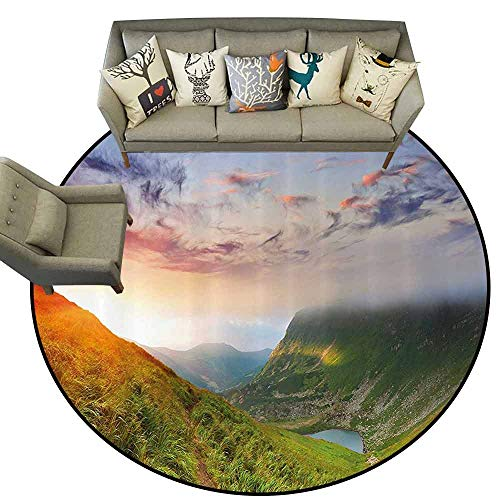 Round Rugs for BedroomMountain Majestic Sunrise in Hills Mottled Clouds Fresh Grass Serenity Morning Mist Non Slip Round Rugs D75 Blue Green Orange